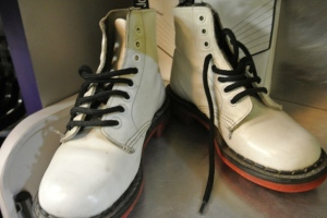 For something a bit different, how about some white doc martins.