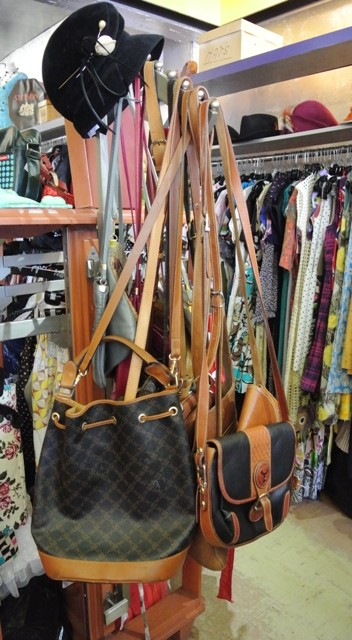 Leather purses and vintage hat